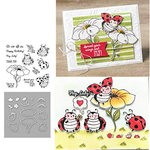 None Branded Little Ladybug Metal Cutting Dies and Stamps Stencils for DIY Scrapbooking Album Stamp Paper Card Embossing