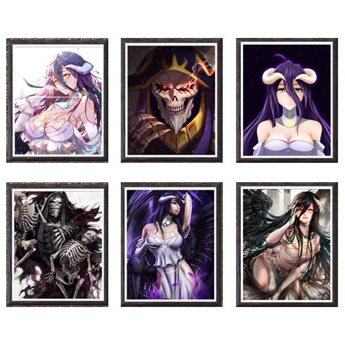 Escuridão caveira Lord of Ainz Ilustração Albedo Anime Overlord Impressão de arte de parede para decoração, 20 x 25 cm, conjunto de 6, sem moldura