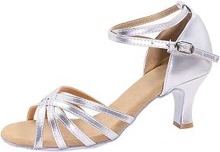 iCKER Women's Professional Latin Dance Shoes Satin Salsa Ballroom Wedding Dancing Shoes 2.4'' Heel