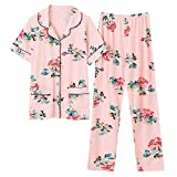 DFDLNL Summer Knitted Pure Cotton Flower Pyjamas Set Damen Pyjamas Nachtwäsche Nightwear Pyjamas...