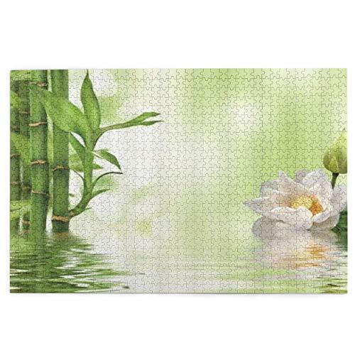 rompecabezas 1000 piezas para adultos Spa Lotus Blooming Blanco Flor de Loto Verde Bambú Puzzle Para Niños Niñas Mayores Regalos
