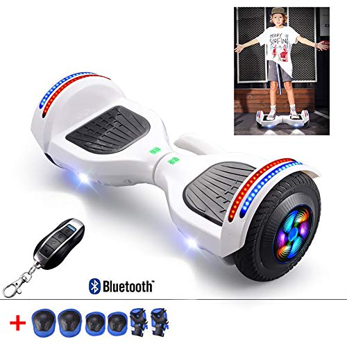 8 Inch Hoverboard Two Wheel Self Balancing Electric Scooter Added Portable Design with Bluetooth Speaker, LED Lights, Flashing Wheels, Best Gifts for Kids+ A Set of Protective Gear,White