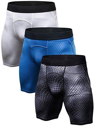 SANANG - Mallas de compresión para hombre, 3 unidades Points Noirs + Blanc + Bleu XL