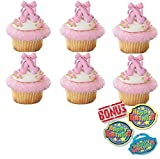 Bundle of Fun Iridescent Ballet Slipper Rings Cupcake Toppers and Bonus Birthday Ring - 25 Piece