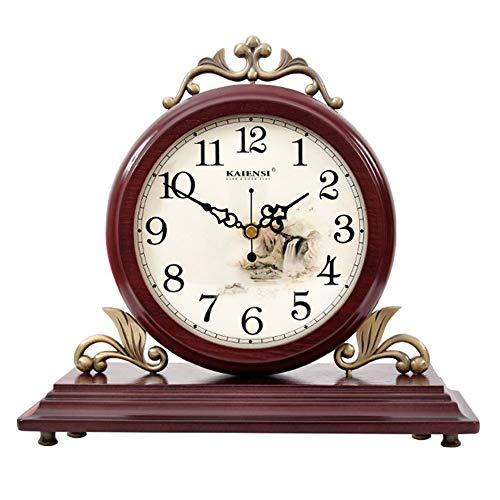 Reloj de sobremesa, relojes vintage de madera decorativos, reloj de chimenea de diseño de madera para sala de estar, chimenea, oficina, escritorio reloj de escritorio ( Color : 0818B - DOUBLE- SIDED )