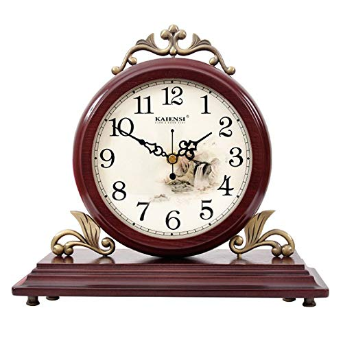 Reloj de sobremesa, relojes vintage de madera decorativos, reloj de chimenea de diseño de madera para sala de estar, chimenea, oficina, escritorio reloj de escritorio ( Color : 0818B - SINGLE SIDE )
