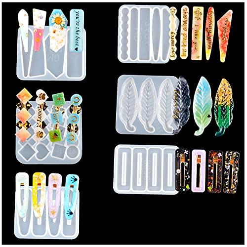 Dancepandas Moldes de Resina de Silicona Diy 6 Piezas Moldes para Pelo Molde de Resina Epoxi de Cristal para Joyería para Pinzas de Pelo