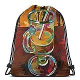 ATUEMACO Pintura digital original de vaso de café Mochila con cordón Bolsas de playa Gimnasio Natación Deportes Cuerda Mochilas Bolsa Bolsa de almacenamiento a granel