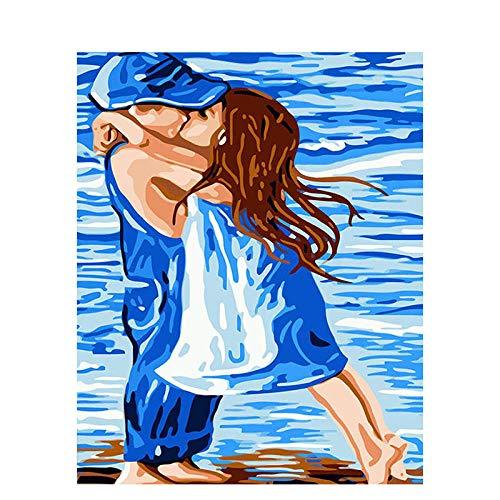 BEDJFH Pintar por Numeros Adultos Beso Niños DIY Pintura por Números con Pinceles y Pinturas-Decoración del Hogar 16 * 20 Pulgadas,Sin Marco