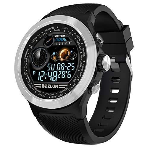 BOZLUN Smart Horloges voor mannen, Fitness Tracker Horloge Waterdichte IP67 met Hartslagmeter, Slaapmonitor Bericht Herinnering Stopwatch Stappenteller Armband Polsband Calorie Tracker voor iOS Android, Zilver Zwart