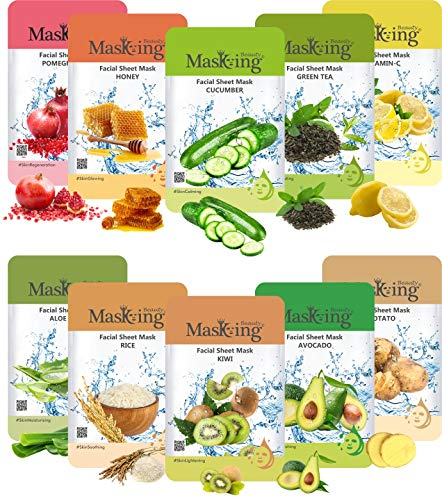 Masking Beauty Facial sheet Mask (Combo of 10 Pack) for Skin Lightening, Glowing, Hydrating, Nourishing, Brightening, Regeneration and Calming Face Sheet Mask with Real Extracts ideal for women & Men