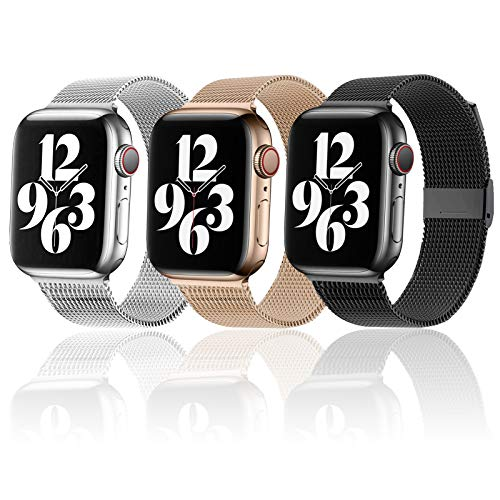 Magnetic iWatch Band Compatible for apple Watch 38mm 40mm 42 mm 44mm,Stainless Steel Mesh Loop metal Sport Wristband Compatible for iWatch Series 6/5/4/3/2/1/SE (Black/Rose Gold/Sliver, 42MM/44MM)
