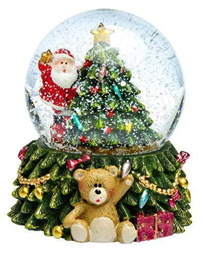 SIKORA SK12 Mittelgroße Glas Schneekugel für Kinder Weihnachtsmann mit Stern auf dem Weihnachtsbaum D:65mm mit bunter LED Beleuchtung, Schneekugeln:Weihnachtsmann auf dem Weihnachtsbaum