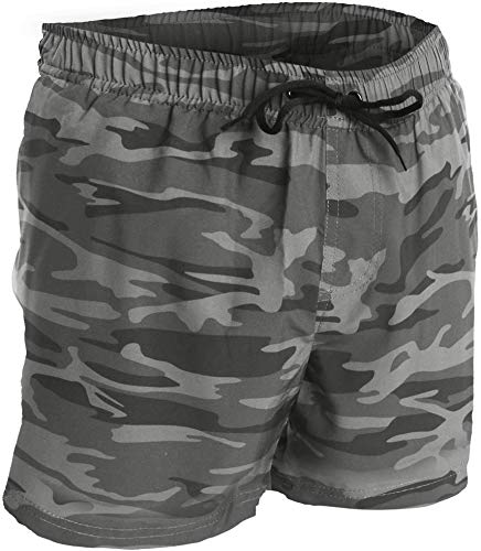 Men's Swim Trunks and Workout Shorts - L - Geen Camo - Perfect Swimsuit or Athletic Shorts for The Beach, Lifting, Running, Surfing, Gym. Boardshorts, Swimwear/Swim Suit for Adults, Boys