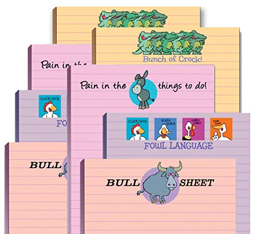 Funny Adult Note Pad Assorted Pack - 8 Novelty Notepads - Funny Office Supplies (8)