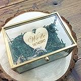 We do Caja de cristal Caja de anillo de boda rústica, caja de soporte de anillo personalizado, almohada de anillo de vidrio, soporte de anillo, caja de anillo de boda, caja de anillo de propuesta