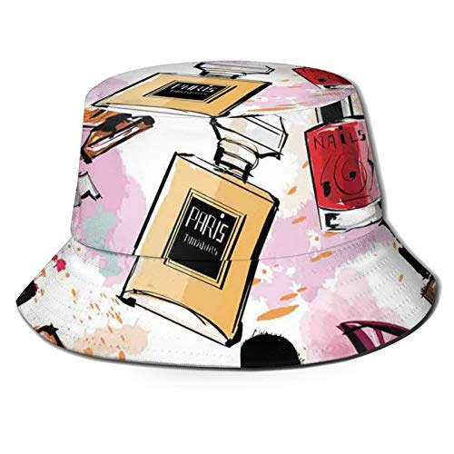 Sun Hat Bucket Type Men's and Women's Folding Fisherman's Hat,Cosmetic and Makeup Theme Pattern with Perfume Lipstick Nail Polish Brush In Modern Style,Beach Hat Sun Protection