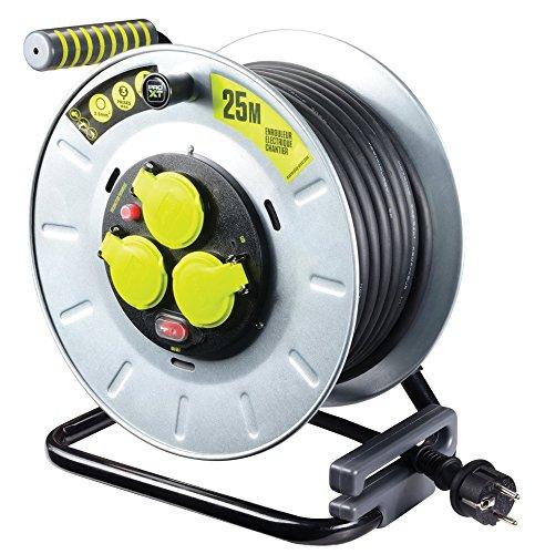 MasterPlug otlf2516rr3ipsl-px Elektrische-Kabeltrommel Baustelle, 3000W, 230V, Metall, gelb/schwarz, 25m