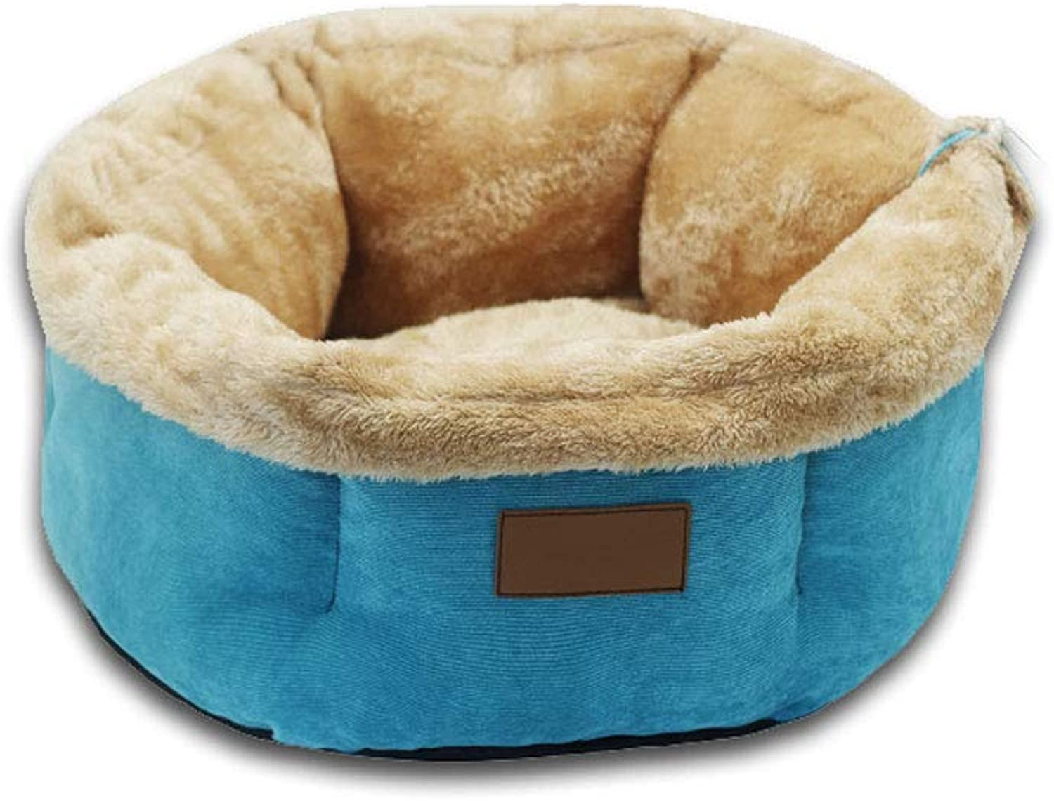 ZOUQILAI Autumn Winter Models Warm Cat Litter Kennel Small Dog Closed Deep Sleep Nest Cat Sleeping Bag Removable Washable (color   bluee, Size   L)
