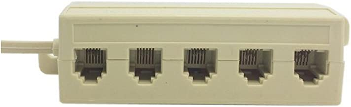 Beige Color 5 Way Outlet 6P4C RJ11 RJ12 Telephone Phone Modular Jack Line Splitter Adapter 1-in-5-out,Other