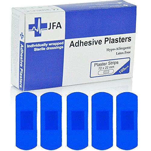 JFA blau groß Streifen Pflaster 22x 72mm 100Pflaster Pro Packung