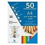 Dohe 30108 - Pack de 50 cartulinas, A4, color azul bermudas