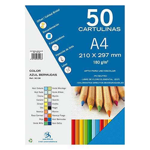 Dohe 30108 – Pack de 50 cartulinas, A4, color azul bermudas