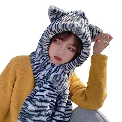SWEETWU - Gorro de invierno 2 en 1 con capucha para mujer, diseo de rayas de cebra, con orejas de oso, de felpa difusa con orejera, resistente al viento, calentador de cuello, bufanda y sombrero