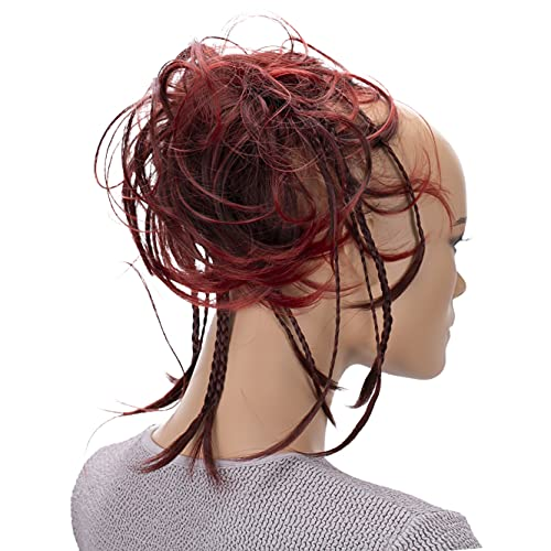PRETTYSHOP XXL Haarteil Haargummi Hochsteckfrisuren Brautfrisuren Voluminös Gewellt Unordentlich Dutt Rot Mix G9D