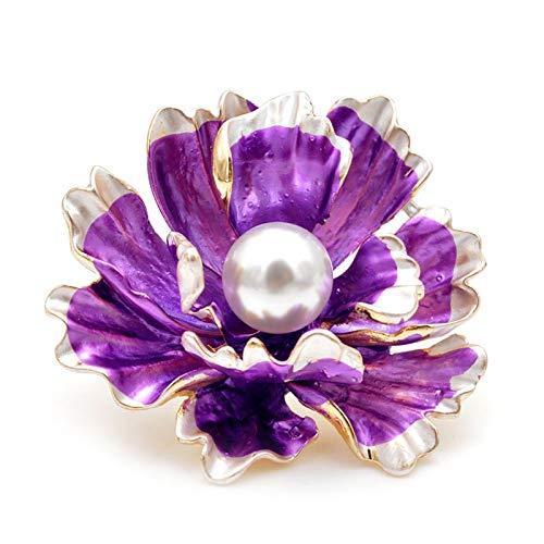 DWSLY Broche de Moda Broche de Perlas Negras de la Flor Blanca, Elegante Nuevo diseño for Damas, Moda de Lujo, Broche, Esmalte, Damas Regalos navideños (Metal Color : Purple)