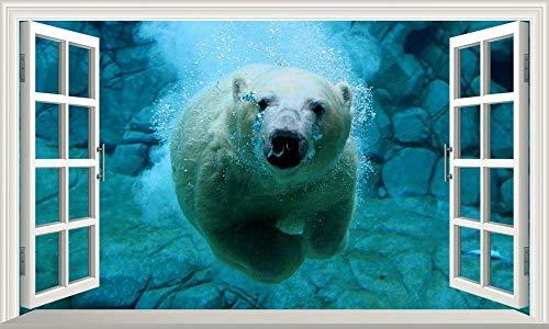 Oso Polar 3D ventana mágica arte de la pared autoadhesivo vinilo adhesivo fondo cartel de pared 50x70 cm