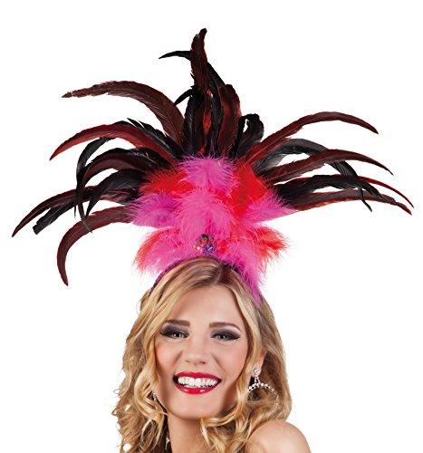 Boland 52283 - haarband Rio met veren, eenheidsmaat, roze/rood