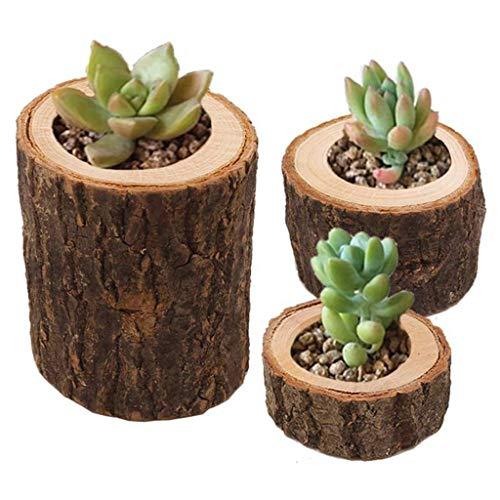 ToDIDAF 3 Stück Blumentopf Stumpenkerzenhalter Multifunktionaler Holzbehälter für Sukkulenten Blumen Bonsai Pflanzen, für Zuhause Wohnzimmer Büro Desktop Bar Balkon Garten Dekoration