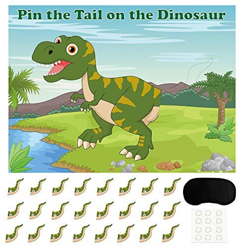 FEPITO Pin The Tail beim Dinosaurier Spiel mit 24 Stück Schwänzen für Dinosaurier Geburtstag Partyzubehör, Jungen-Dinosaurier Party Spiel