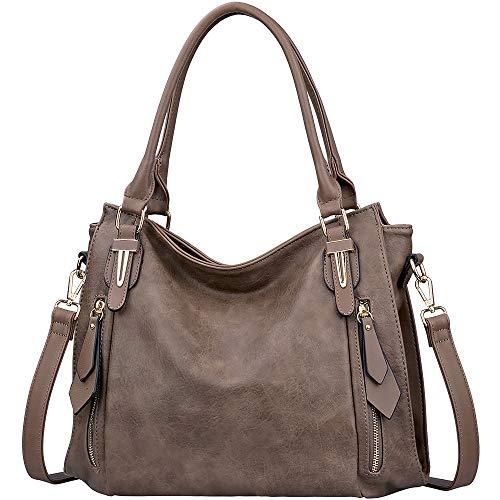 Shoulder Bags for Women - JOYSON Hobo Handbags Large Top Handle Satchel Bags Adjustable Shoulder Strap Crossbody Bags Grey Brown