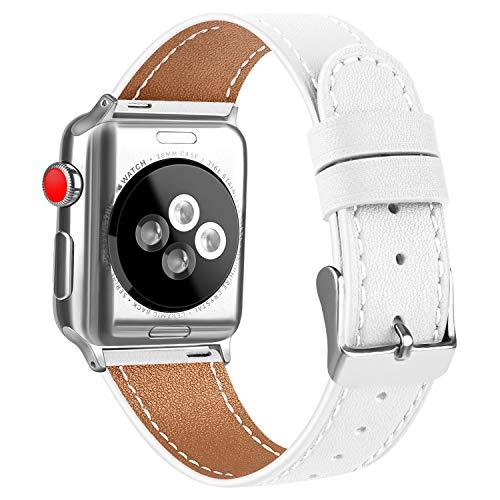 AK Armband kompatibel für Apple Watch 38 mm 40 mm, Körnungsleder, Ersatz für iWatch Serie 5, 4, 3, 2,1, 10 Weiß, 42mm/44mm