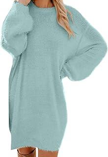 MERICAL Vestido de suéter de Manga Larga con Cuello Redondo en Color Liso Invierno de Mujer de Punto de Cuello Alto de Man...
