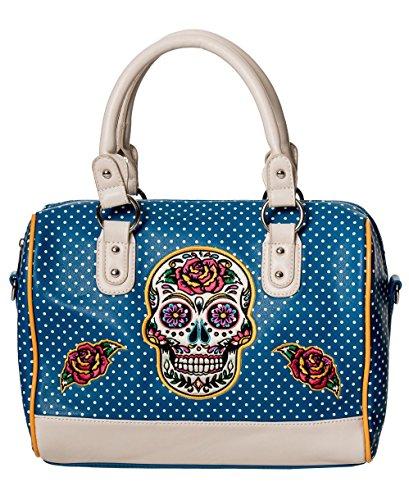 Alternative Retro Sugar Skull Tag der Toten Handtasche - Teal/One Size