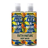 Faith In Nature Natural Grapefruit and Orange Body Wash Pack, belebend, vegan & tierversuchsfrei,...