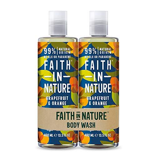 Faith In Nature Natural Grapefruit and Orange Body Wash Pack, belebend, vegan & tierversuchsfrei, Parabene und SLS frei, 2 x 400 ml