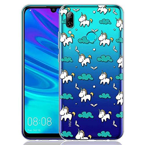ZhuoFan Funda Huawei P Smart 2019, Cárcasa Silicona Transparente con Dibujos Diseño Suave Gel TPU Antigolpes de Protector Case Cover Fundas para Movil Huawei PSmart 6,21 Pulgadas, Unicornio