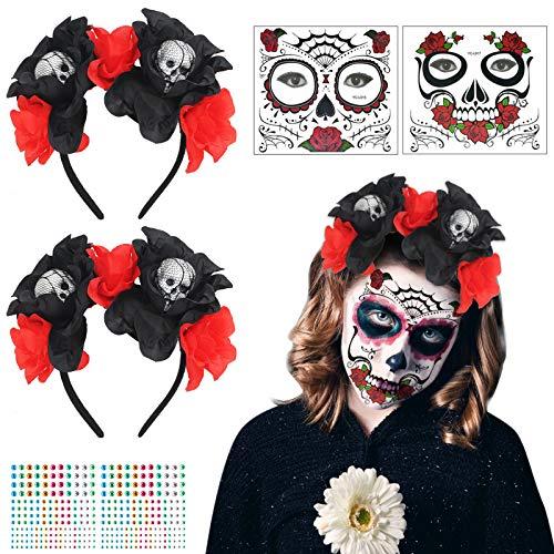 LOPOTIN 2pcs Tiaria Roja Rosa, Diadema Mexicana, 2pcs Tatuajes Cara Día Muerto, Diadema Catrina para Disfraces Novias Demonio de Carnival Día Muertos Fiestas Mexicanas para Mujeres Hombres y Niños.