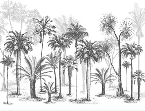 Life Accessories Custom Wallpaper Mural Black and White Sketch Tropical Coconut Tree Nordic TV Sofa Background 3d Wallpaper 200x140 cm (78.7 by 55.1 in)