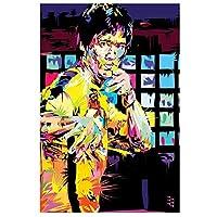ZNLEY.O 抽象ブルース・リーポートレートアートキャンバス絵画ポスターとプリント中国のカンフーマスターウォールアート写真のためのリビングルームの装飾 (Size : 40X60cm No Frame)