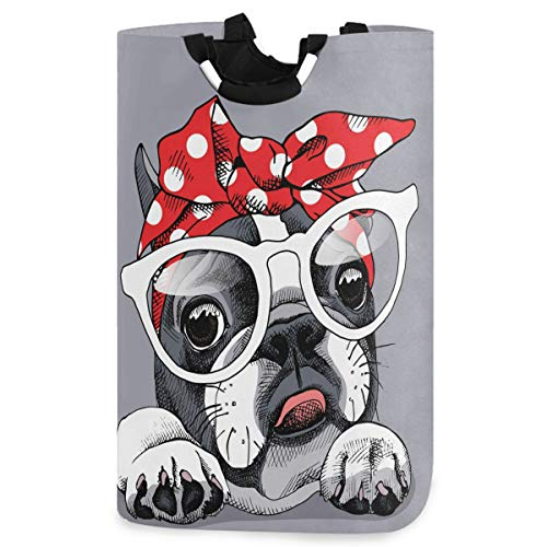 visesunny Collapsible Laundry Basket French Bulldog Animal Cartoon Large Laundry Hamper with Handle Toys and Clothing Organization for Bathroom, Bedroom, Home, Dorm, Travel