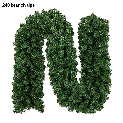 Augproveshak Christmas Garland Greenery 9ft Christmas Garland Green Artificial Wreath Spruce Tree Fir Vine Thick Floral Hanging Ornaments, for Mantel Stairs Wall Front Door Room
