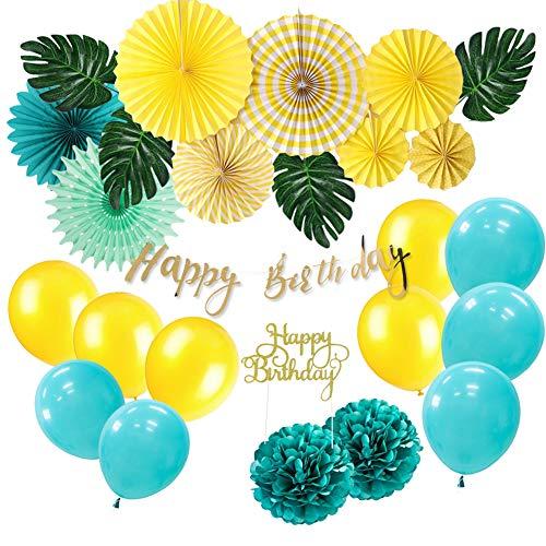 26 Piezas Decoración para Fiestas Cumpleaños Abanico de Papel Banner Happy Birthday Pompom Globos de Azul y Amarillo Topper Tarta para Fiesta Verano Celebración Party Baby Shower Carnaval