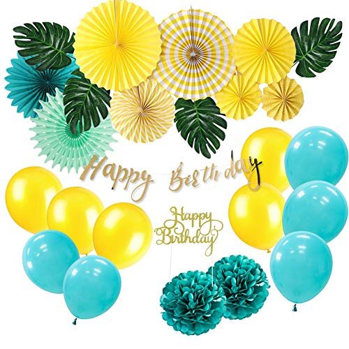 SUNBEAUTY Decoration Tropical Anniversaire Happy Birthday Kit Jaune Summer Jungle Birthday Party Decor avec Happy Birthday Cake Topper Or pour Garcon Fille