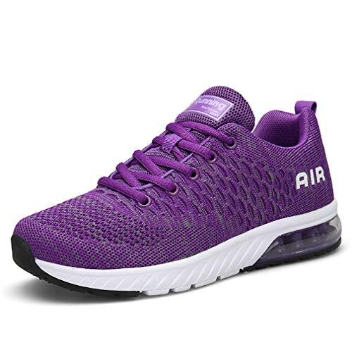 ZYLDK Herren Damen Sportschuhe Laufschuhe Turnschuhe mit Luftpolster Sneakers Leichte Atmungsaktive Fitness Schuhe Profilsohle, Violett, 39 EU