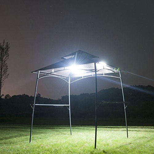 GOJOOASIS BBQ Grill Gazebo w/2Pcs Led Barbecue Canopy Tent 2-Tier Soft Top